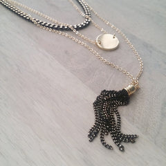 Layered Necklace: Coin Tassel
