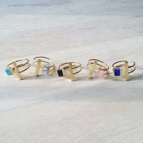 Cube Bar Gemstone Ring