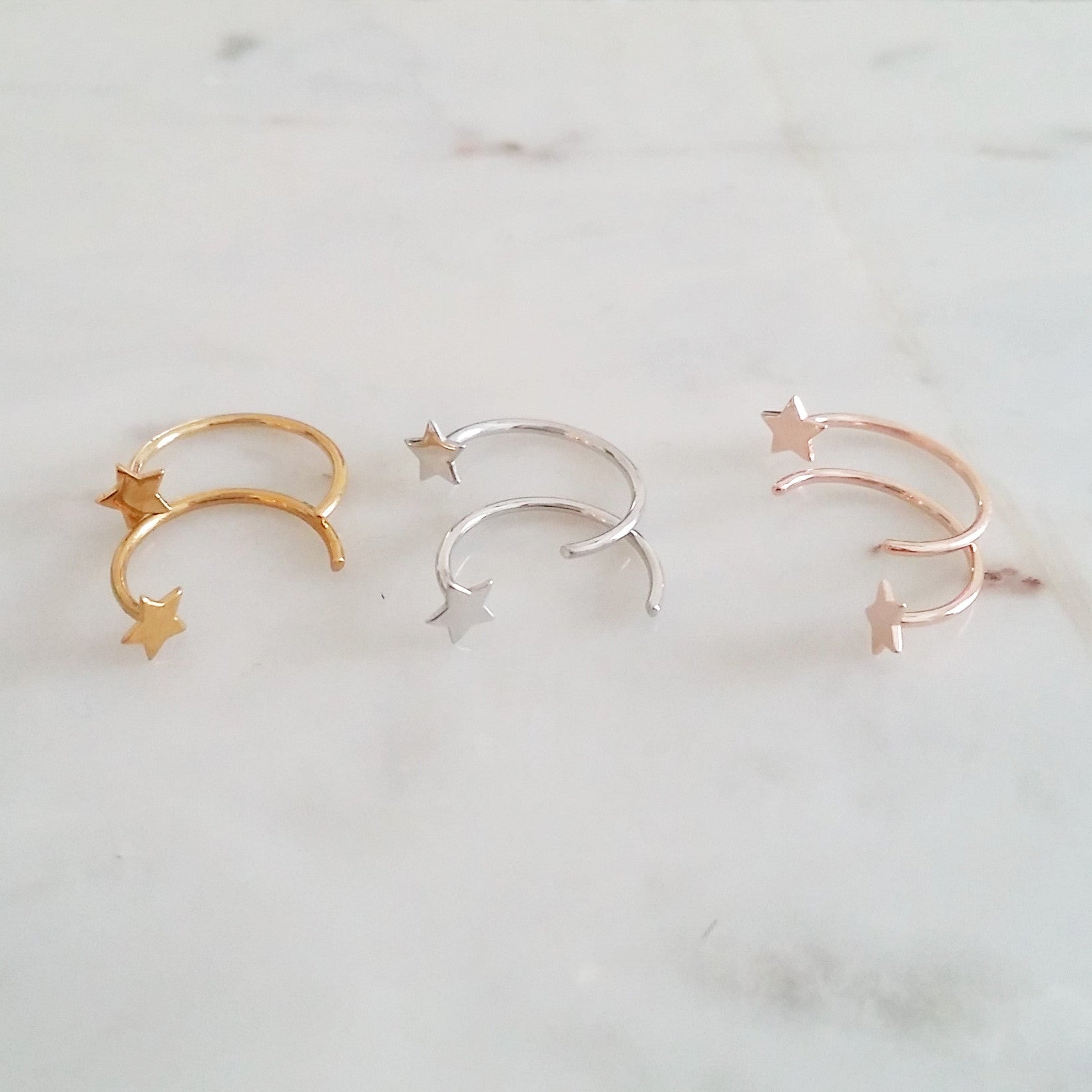 Open Hoop Earrings - Star