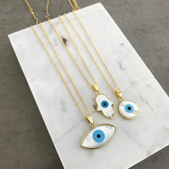 Evil Eye Round (MOP) Necklace