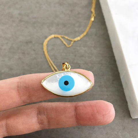 Evil Eye Almond (MOP) Necklace