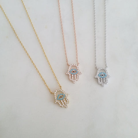 Pave Hamsa (Cutout) Necklace