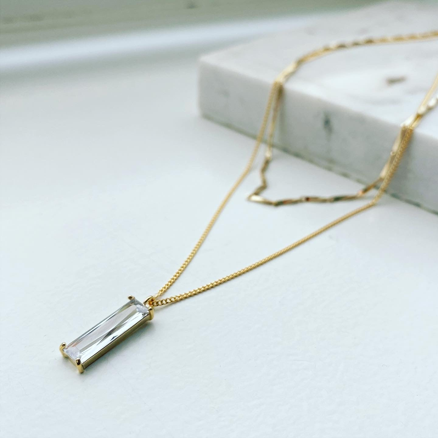 Layered Necklace: Vertical Baguette