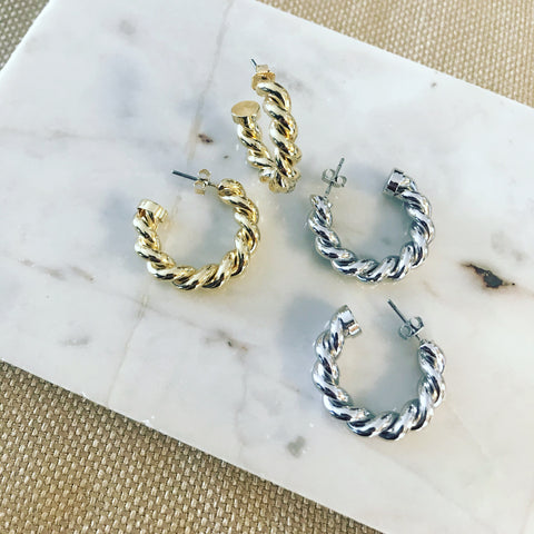 Cable Rope Hoop Earrings