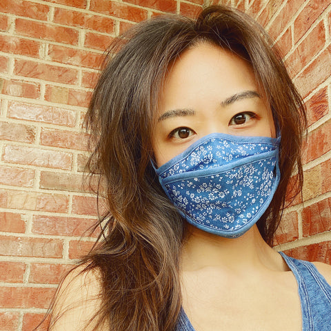 Protective Face Mask | Denim White Flowers