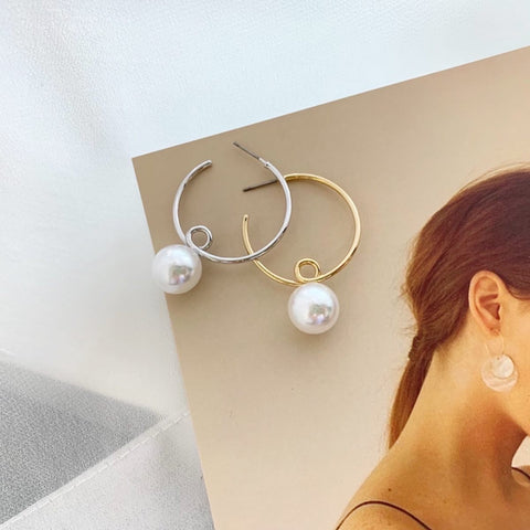 Pearl Hula Hoop Earrings