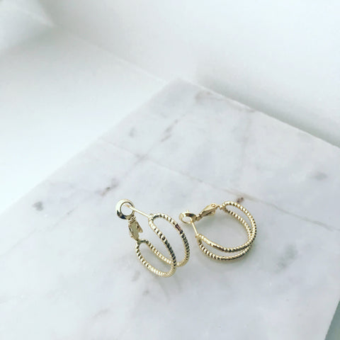 Bezel Cuff Hoop Earrings