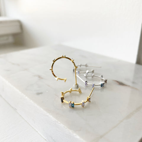 Baguette Confetti Hoop Earrings