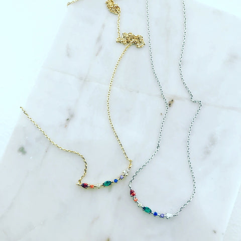 Rainbow Studded Curve Necklace