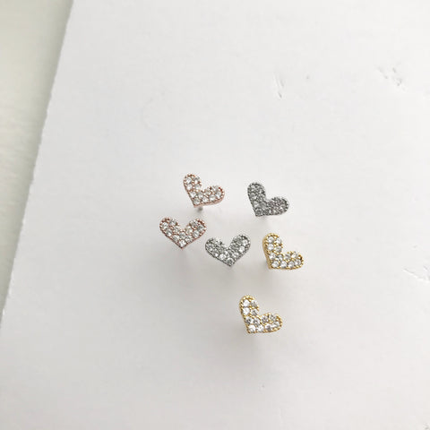 Pave Heart (Sparkle) Earrings