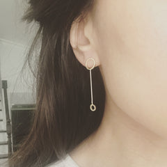 Double Circle Stick Earrings