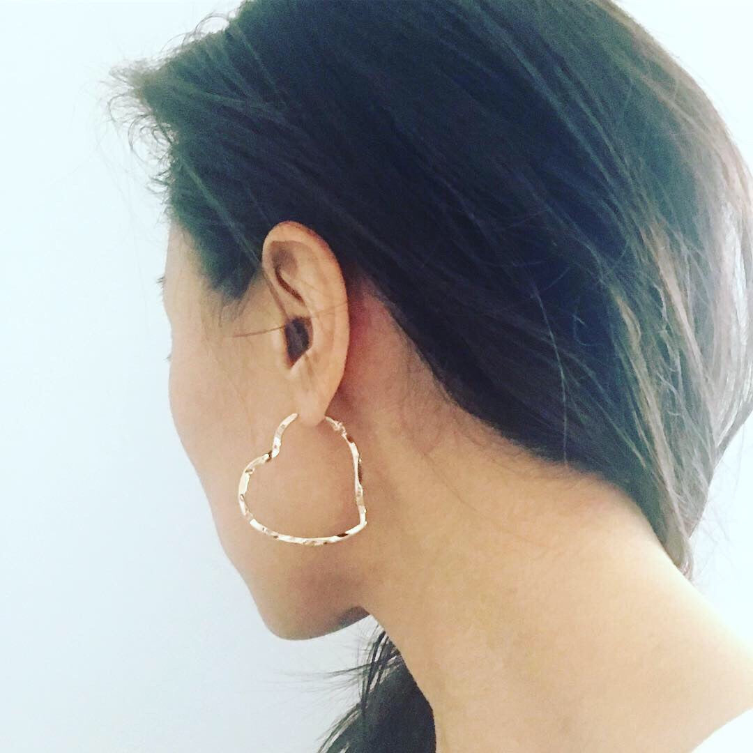 Heart Hammered Hoop Earrings
