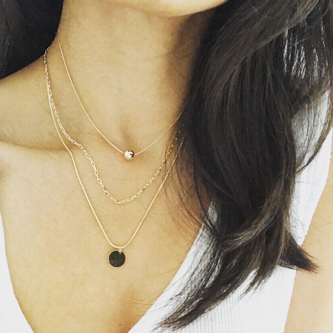 Layered Necklace: Ball Disc