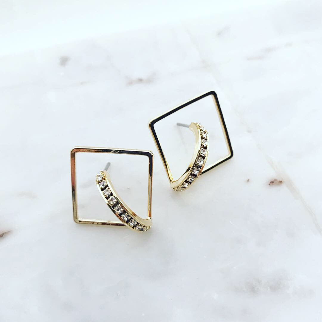 Floating Square Hoop Earrings
