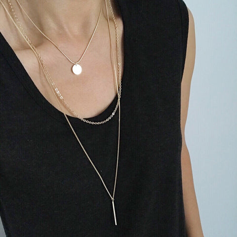 Layered Necklace: Disc Bar
