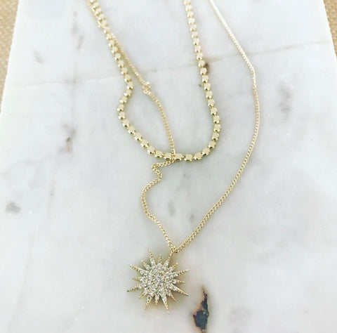 Layered Necklace: Bursting Sunburst