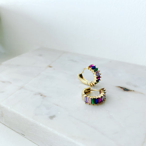 Baguette Brilliant Hoop Earrings (Multicolor)