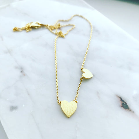 Two Hearts Confetti Necklace