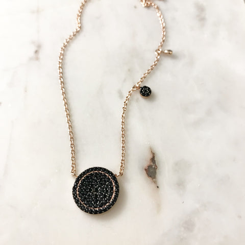 Flawless Disc Necklace - Black CZ