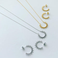 Dotty Sunburst Arc Necklace