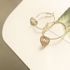 Love Charm Hoop Earrings