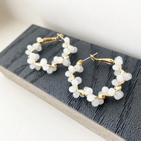 Glass Bead Twist Hoop Earrings