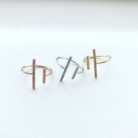 Pave Double Bar Ring