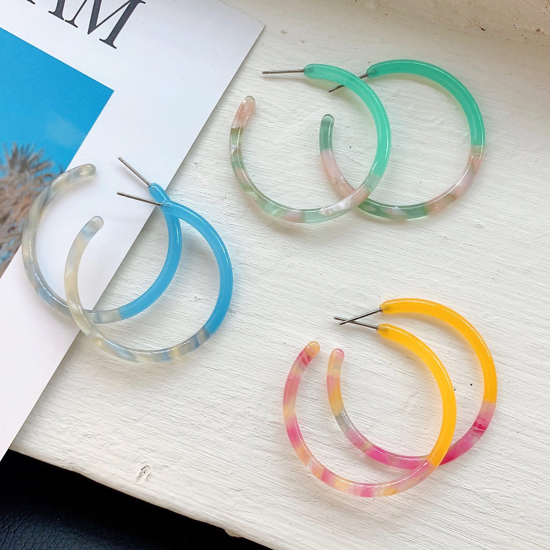 Marble Confetti Hoop Earrings