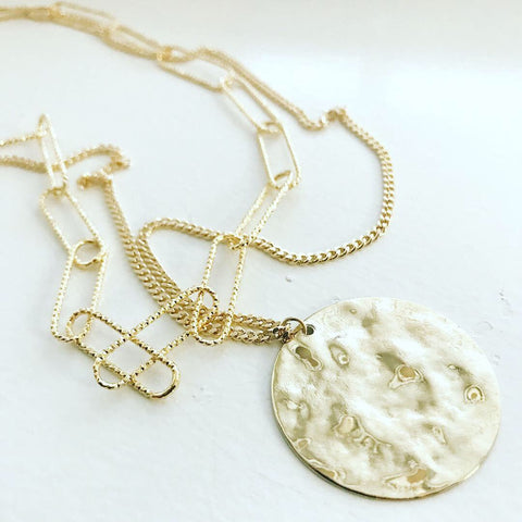 Layered Necklace: Hammered Coin