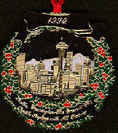 1994 Seattle Ornament: The Emerald City: Skyline with Mt. Rainier