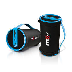"Axess Portable Bluetooth 2.1 Hi-Fi Cylinder Speaker w/SD Card, AUX & FM Inputs, 4"" Sub.-Blue"