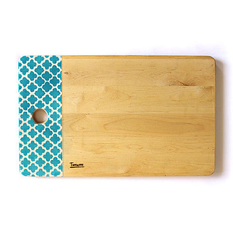 LARGE WOODEN BOARD - MOROCCAN AQUA