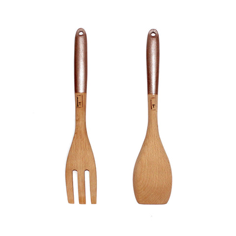 WOODEN SALAD SERVERS - METALLIC