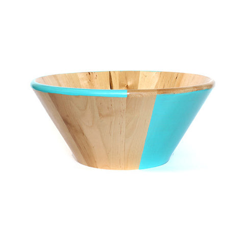 WOODEN SALAD BOWL - AQUA