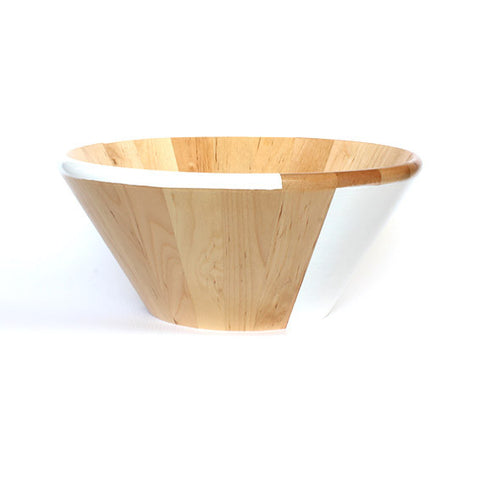 WOODEN SALAD BOWL - WHITE