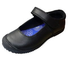 Buckle My Shoe Crocco Black Velcro School Shoes