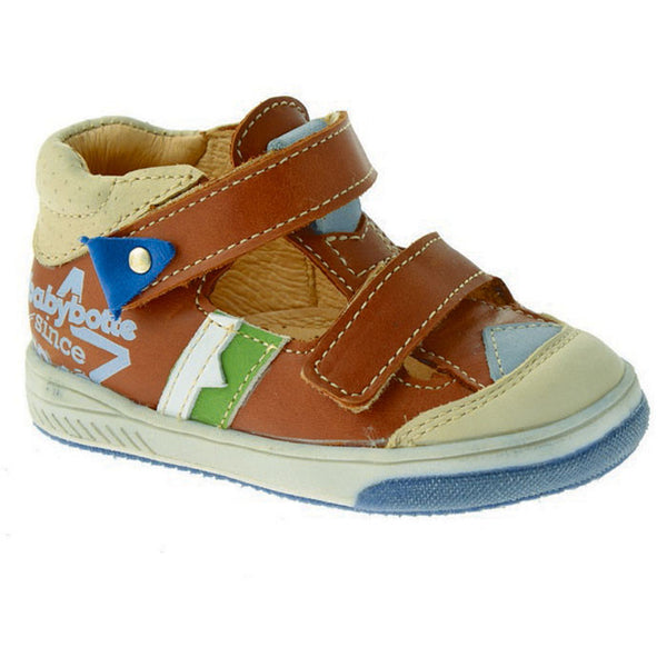 Babybotte Sphinx Tan & Beige Velcro Shoes