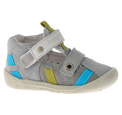 Babybotte Styli Grey, Blue & Lime Velcro Shoes