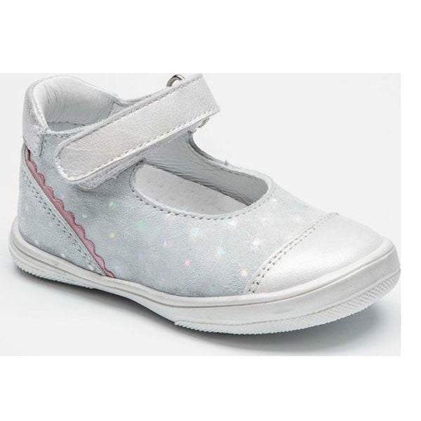 Bellamy Gloria White & Silver Velcro Shoes