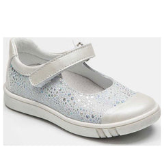Bellamy Lada White & Silver Velcro Shoes