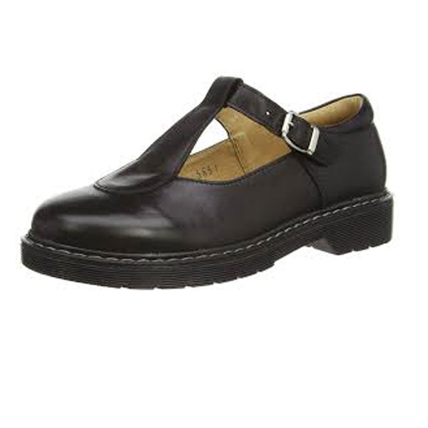 Petasil Claudia Black Buckle School Shoes