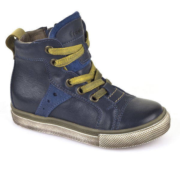 Froddo Navy Blue & Yellow Lace Up Ankle Boots