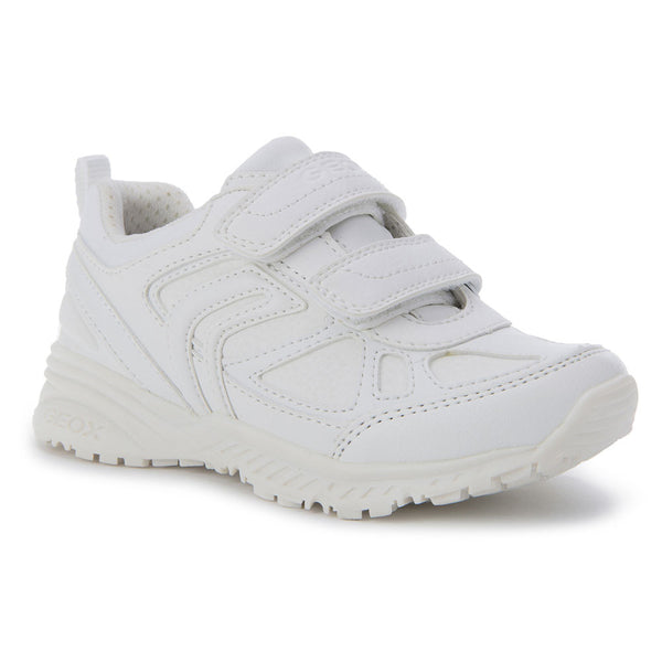 Geox J Bernie Plain All White Trainers