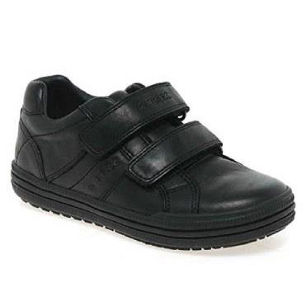Geox J Elvis Black Velcro School Shoes