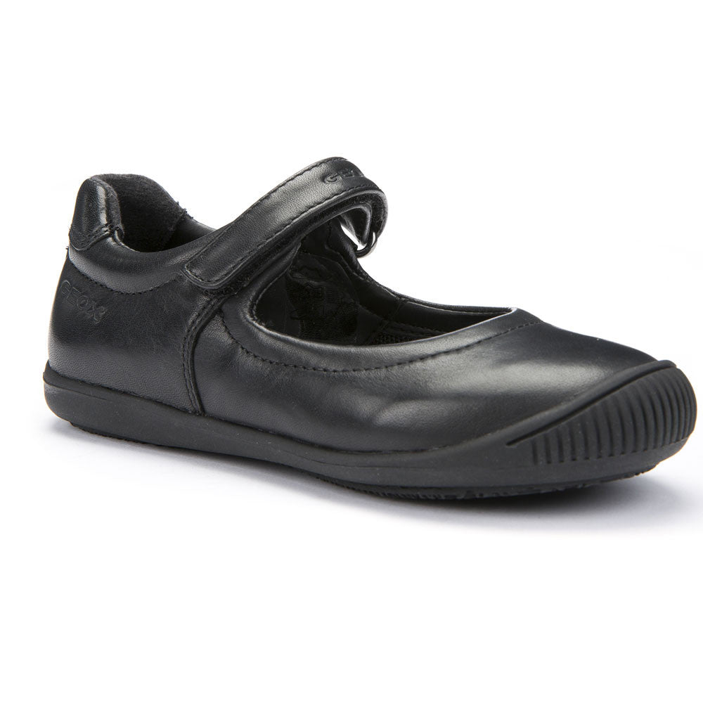 Geox J Gioia Black Velcro School Shoes