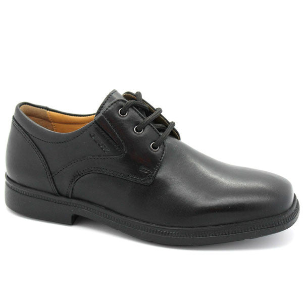 Geox J Federico Black Lace School Shoes