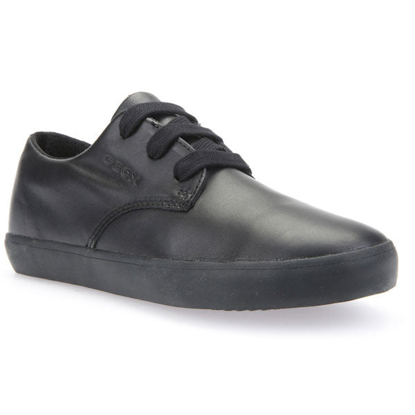 Geox J Kiwi Black Lace School Shoes