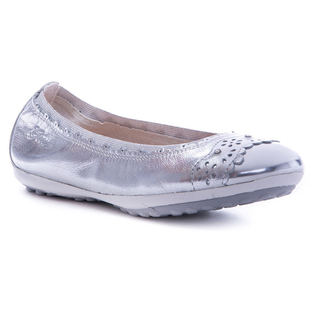 Geox J Piuma Silver Balllerina Slip On Shoes