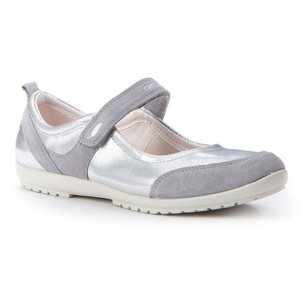 Geox J Vega Grey & Silver Velcro Shoes