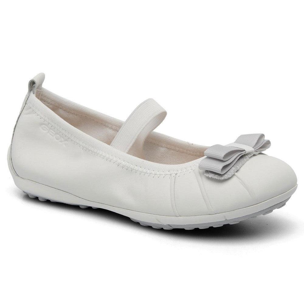 Geox J Piuma Ballerina White Strap Shoes